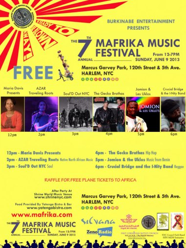 The 7th Annual Mafrika Music Festival Next Sunday, June 9th in Harlem!