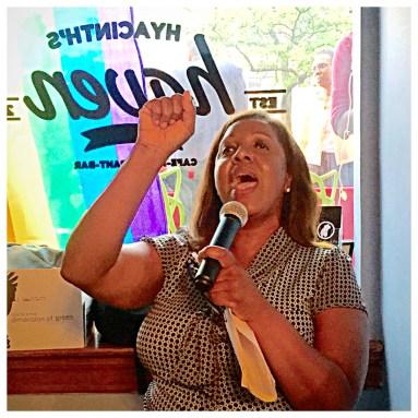 Public Advocate, Letitia James, rouses the crowd in Harlem for Pride.