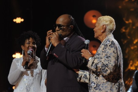L-R: Gladys Knight, Stevie Wonder, Dionne Warwick perform during the OWN At The Apollo Concert Series, held at the Apollo Theater in Harlem, New York, Tuesday, August 18, 2015. Photo by Jennifer Graylock-Oprah Winfrey Network