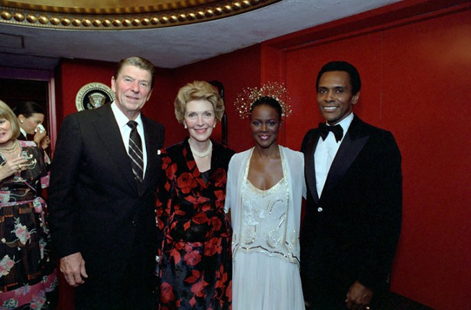 2/10/81 President Reagan and Nancy Reagan posing with Cicely Tyson at a performance by Harlem Dance Theatre at Kennedy Center