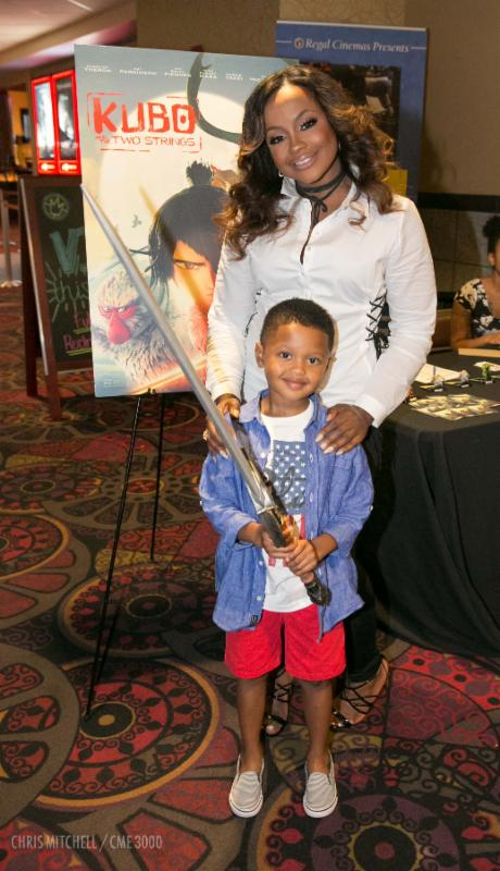 Phaedra Parks and her son Ayden arrive for a fun night