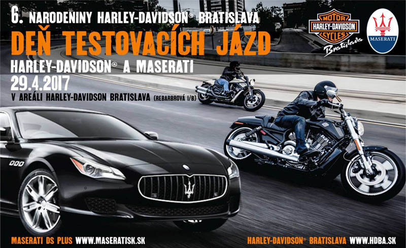Skúšobné jazdy na motocykloch Harley a autách Maserati