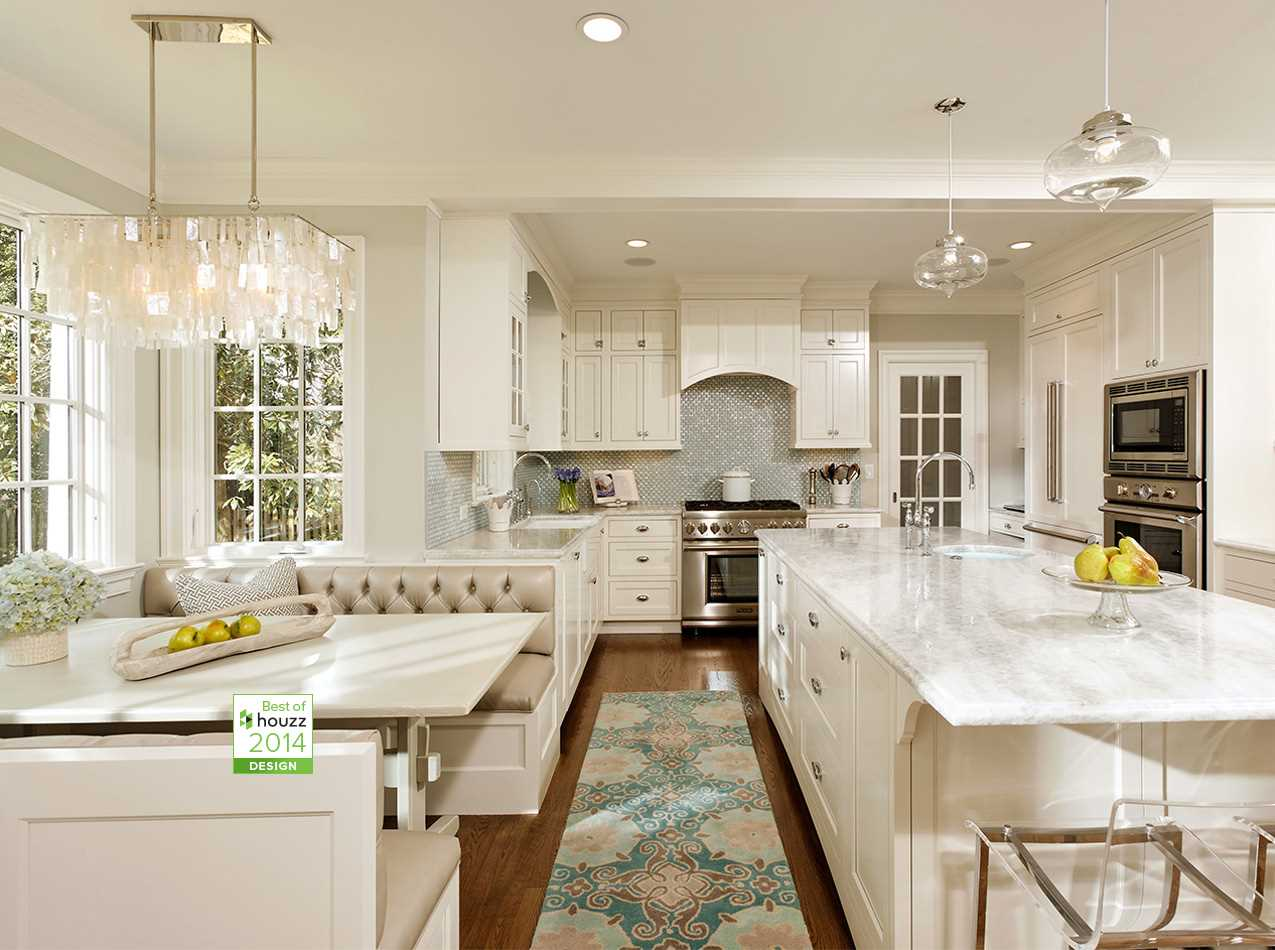 kitchens kitchen remodeling northern virginia Alexandria Va This beautiful kitchen boasts Hampshire cabinetry a custom eat in booth with metallic vinyl cushions white princess quartzite