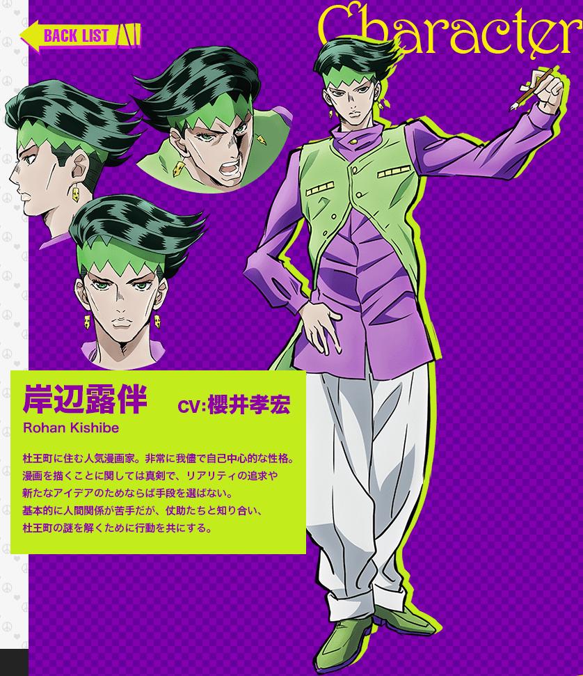 JoJos Bizarre Adventure Part IV Diamond Is Unbreakable anime character design Rohan Kishibe