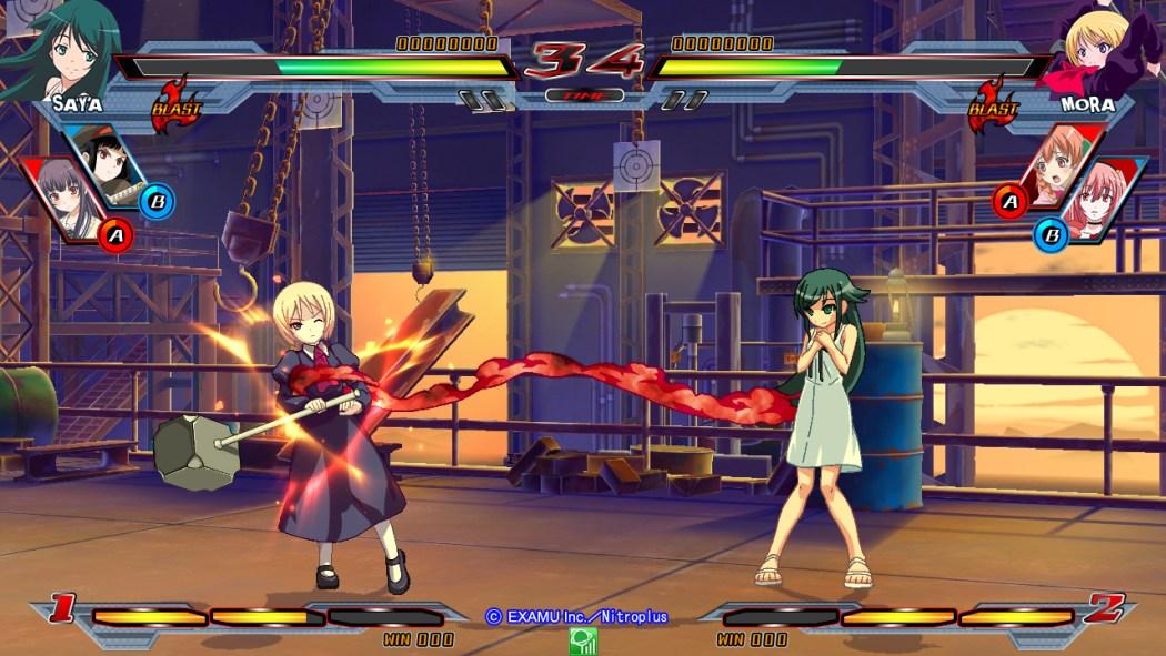 Nitroplus Blasters Heroines Infinite Duel Gameplay haruhichan.com Visual Novel Fighter game screenshot 3