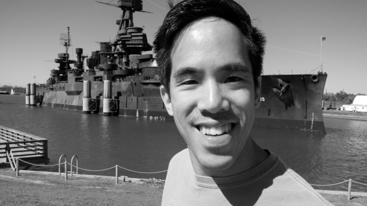Eric in front of the 100-year-old Battleship Texas.