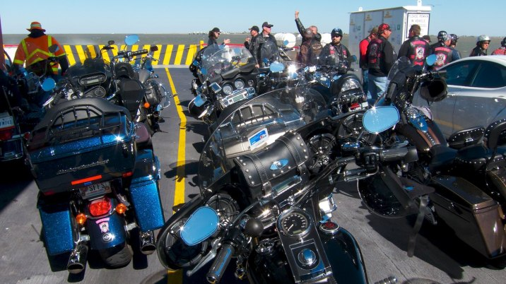 These bikes near the bow are covered in salt spray; some of the riders spend most of the ride wiping down chrome!