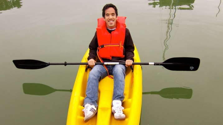 Eric kayaking for the first time.