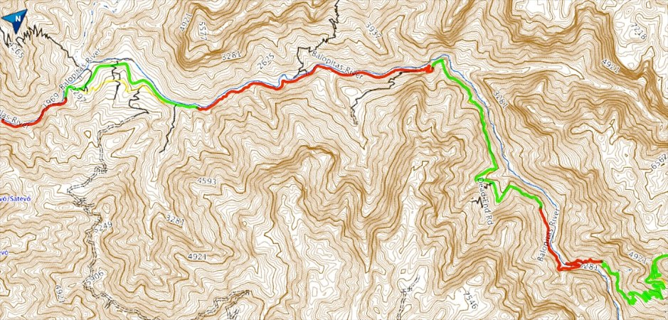 With Batopilas at the very left, the red sections are unpaved and the green sections are paved.
