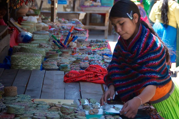 A young Tarahumara woman in the market at Divisadero.
