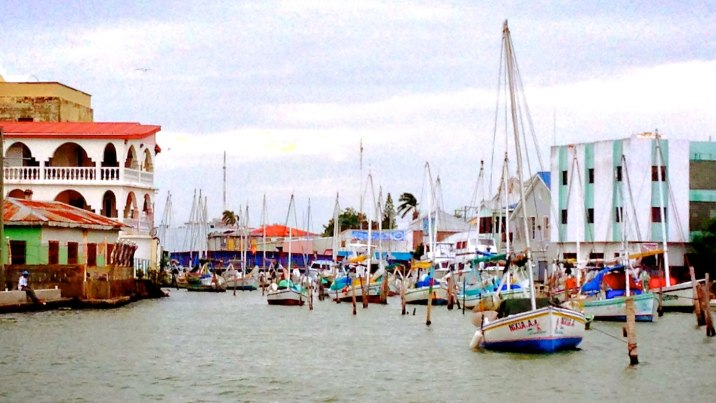 Sailboats in the harbor of Belize City.