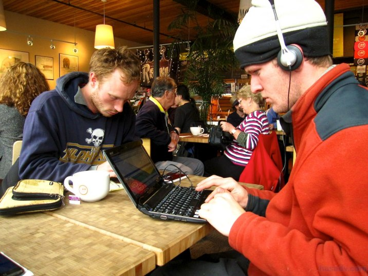Ben, Matty, and I get our Internet fix at a cafe in Whitehorse, Yukon.