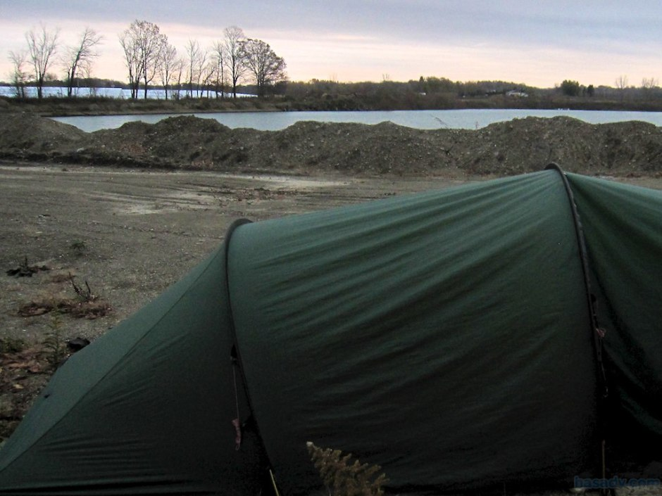 Camped near Erie, Pennsylvania tonight in a gravel pit.
