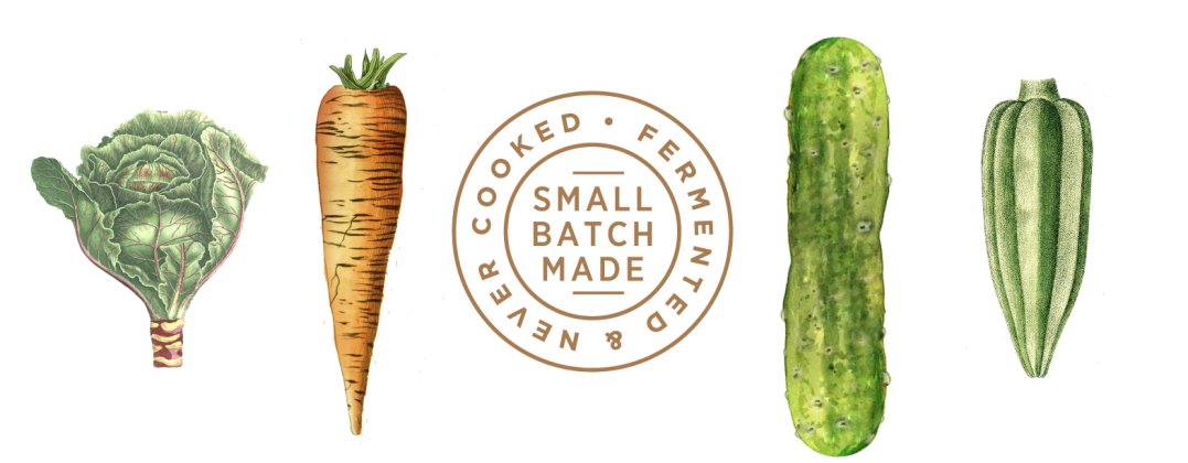 Vegetables and Small Batch Made seal