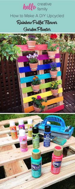 Fantastic Diy Rainbow Pallet Planter Diy Garden Planter Ideas Using Wood Pallets Hative Diy Pallet Herb Garden