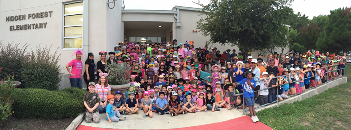 Hidden Forest Elementary School in TX collected 50 hats and $582 for Mad Hatter Day