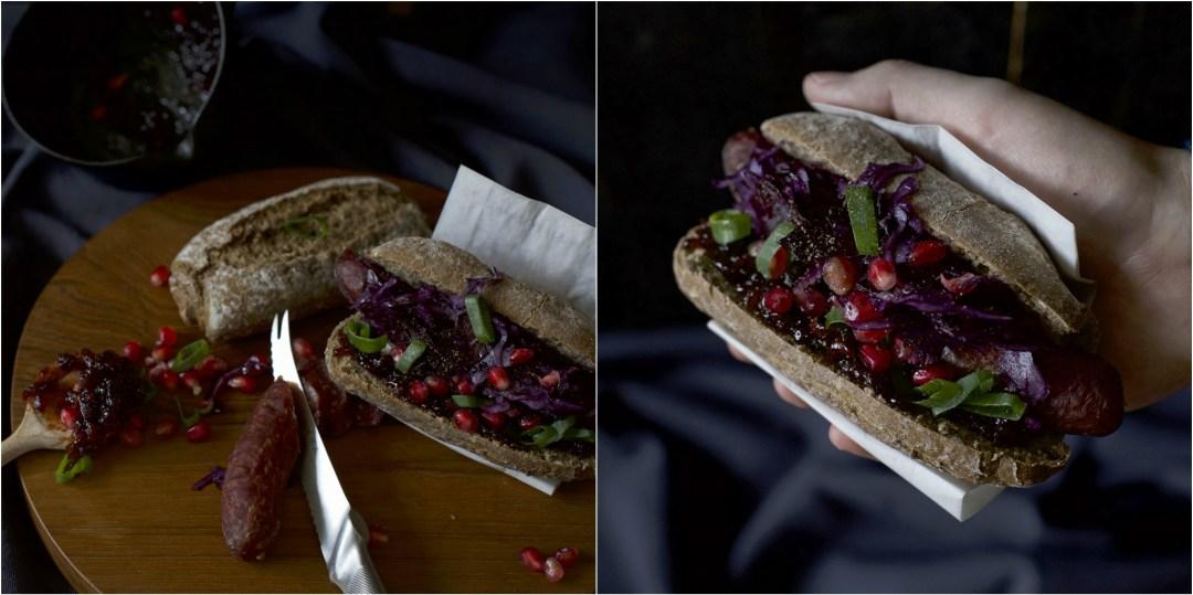 Hot Dog mit Rotkohl und Schalotten-Chutney
