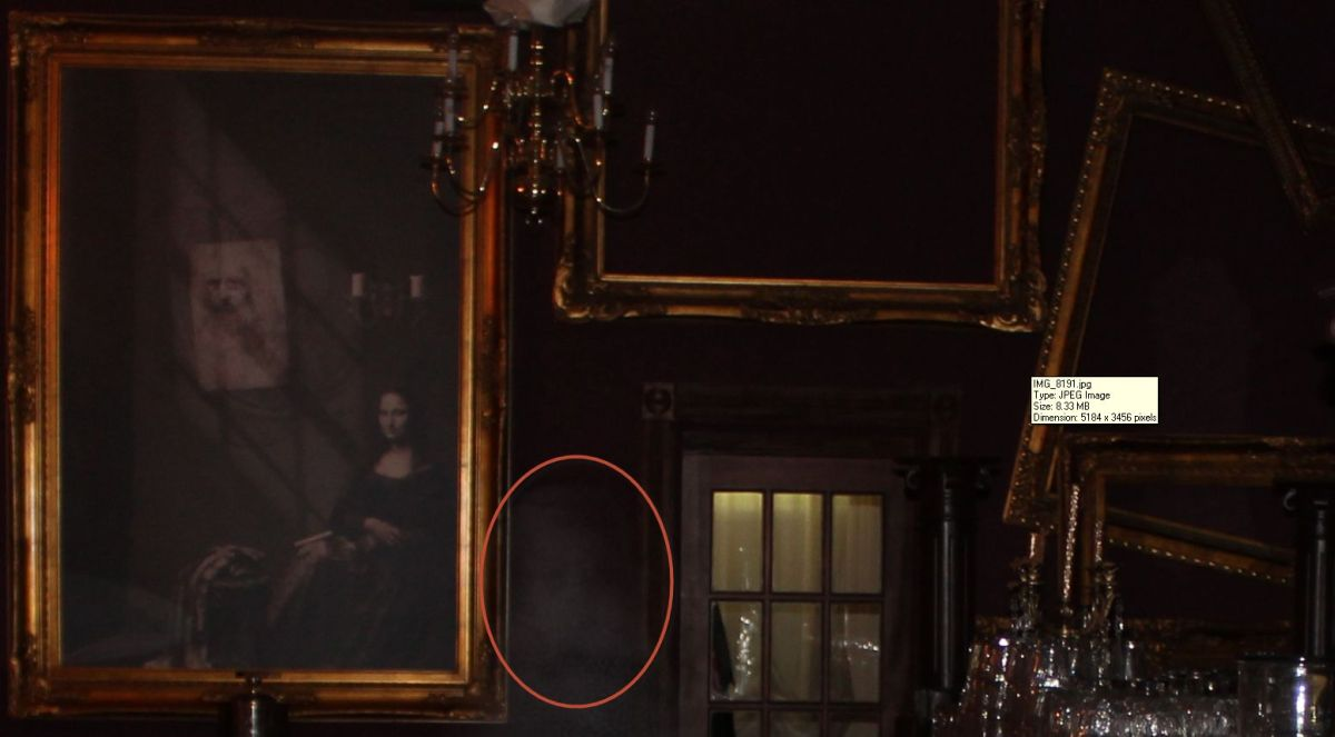 The foggy silhouette resembles the image on the picture on the wall.