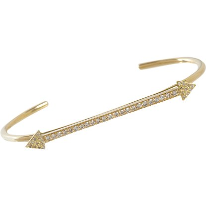Jennifer Meyer pavé diamond yellow gold arrow cuff