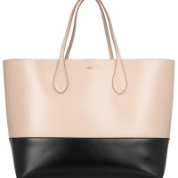 Rochas: Two Tone Leather Tote in Blush and Black