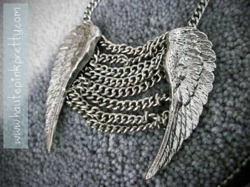 Forever 21 Silver Angel Wing Necklace