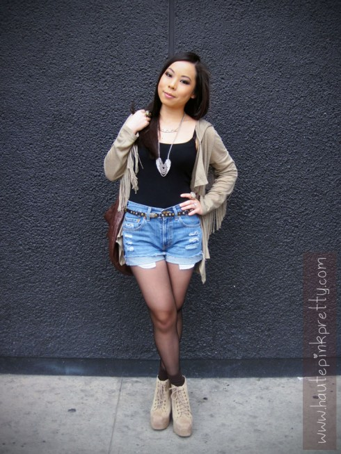 An Dyer in Mags & Pye Fringe Hoodie, Vintage Levi Cutoffs, Forever 21 Necklaces, Decree Rings, Claire's Belt, Nila Anthony Brown Hobo Bag and Jeffrey Campbell Taupe Suede Lita's 2