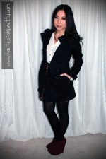 An Dyer in H&amp;M Black Double Breasted Pea Coat, TopShop Sheer Blouse, Sutton Lasater Brass Spike Bib Necklace, Zara Leopard Skirt, ShoeMint Pauline in Wine