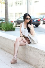 Prada Round Baroque Sunglasses | Dolce Vita Garren Wedge | Michael Kors Parker Watch | Glint &amp; Gleam Arm Candy | Forever 21 Tank, Bandeau and Shorts | Brass Plum Bronze Studded Belt | Louis Vuitton Damier Azur Saleya GM