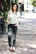 An Dyer wearing Zara Studded Silk Shirt and TRF Waxed Effect Trousers, TopShop Gold Soft Leather Biker Jacket, Christian Louboutin Gabin 140 Kid Cuoio Heel in Brown Beige, Glint &amp; Gleam via ShopLately White Pyramid Studded Faux Leather Wrap Bracelet and Shredded Faux Suede Stud Wrap Bracelet, Rosary Bracelet, Michael Kors Mother of Pearl Chronograph Watch