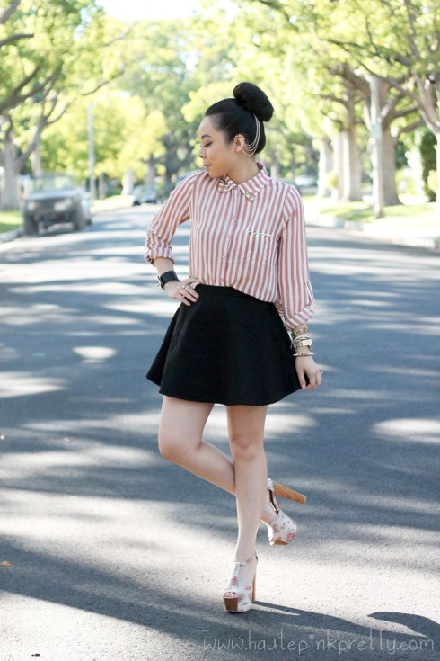 www.HautePinkPretty.com - An Dyer wearing Forever 21 Pink Sheer Striped High-Low Shirt with DIY Gold Cone Studs, American Apparel Circle Skirt in Black Denim, Jessica Simpson Dany Oatmeal Vintage Floral Platform Sandals, ASOS Spike Ear Cuff, Chain And Comb, HauteLook Leather Cuff with Gold Hardware, Gold Spiked Bracelet, Michael Kors Mother Of Pearl Chronograph Watch, Glint &amp; Gleam Beige Versatile Vegan Leather 3 Bracelet Set, Rosary Bracelet