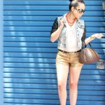 SEEN Global Necklace + ASOS Smile Skinny Belt + Forever 21 Gold Metallic Shorts