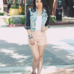 Zara Jacket + Forever 21 Beaded Faux Leather Shorts + Jeffrey Campbell Back Off Boots