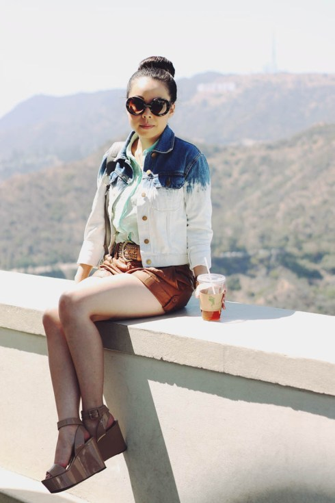 www.HautePinkPretty.com - An Dyer Wearing Forever 21 Dip Dyed Denim Jacket, Cognac Faux Leather Shorts, Zara Mint Swiss Dotted Blouse, BCBGeneration Lee Flatforms, BP bronze studded belt, Prada Round Baroque Sunglasses, Glint & Gleam Arrow Bangle Bracelet, Big Buddha Rita Fringe Hobo