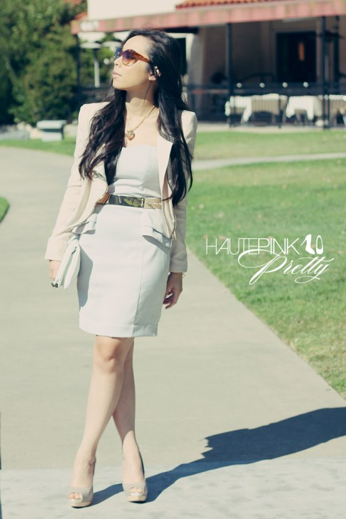 www.HautePinkPretty.com - An Dyer Wearing Lucy Paris Cream Asymmetric Jacket, H&amp;M Light Grey Strapless Peplum Dress, SoleSociety Tori Peep-toe Platforms, Hauskrft White Pebbled Leather Clutch, Elizabeth &amp; James Lafayette Sunglasses, ASOS Plate And Spike Waist Belt, Louis Vuitton Monogram Inclusion Heart Necklace