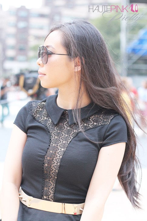 www.HautePinkPretty.com - An Dyer wearing TopShop Lace Insert Collar Peplum Top, ASOS Plate And Spike Detail waist Belt, Blaque Label Blue Tutu Skirt, Hauskrft While Pebbled Leather Clutch, Celine Aviators, Gold Double Cuffs