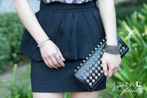 www.HautePinkPretty.com - An Dyer wearing Zara Peplum Skirt with Frill, Vigoss Eyewear Striped Sunglasses, TopShop Mesh Peterpan Collar Necklace, Oasap Black Chic Studded Rectangle Purse,  Glint & Gleam Nailed It Bangle and So Sprung Ring from ShopLately, Swarovski  Slake Bracelet