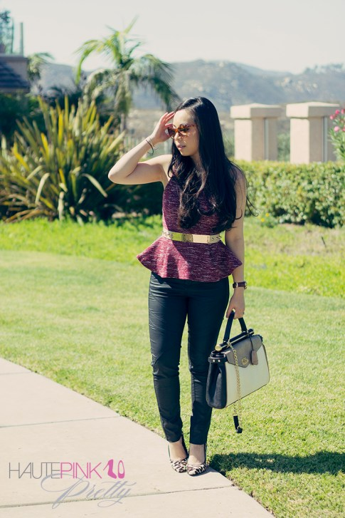 www.HautePinkPretty.com - An Dyer wearing TopShop Boucle Peplum Top, Cream Asymmetric Jacket c/o Lucy Paris, Glint & Gleam The Bentley Blonde Necklace, Sideways Cross & Arrow Bracelets c/o ShopLately, Elizabeth & James Lafayette Sunglasses, BCBGMaxazria Milano Andrea Medium Satchel, ASOS Plate And Spike Belt, Kelly Wedges c/o Sole Society, Zara Waxed Coated Moto Pants, Michael Kors Parker Leather Watch