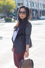 www.HautePinkPretty.com - An Dyer wearing Michael Stars Drape Leather Front Cardigan, 60 Singles Short Sleeve Scoop Tee, Bleulab French Chalk w Ruby Red Coating, Luxe Moda Lioness Necklace, Lulus Rough Rider Studded Black Purse, Dolce Vita Jemma boots, Tom Ford Carrie Sunglasses, Glint &amp; Gleam Bracelets ShopLately, Michael Kors Parker Leather Watch