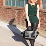 Vivienne Kelly Necklace + Emerald Peplum Top + Cuore & Pelle Caterina Bag