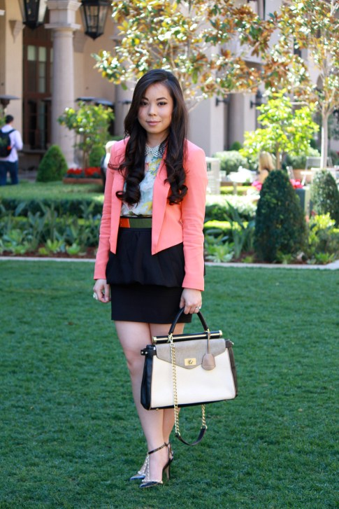 Bebe Girls Who Lunch - An Dyer wearing Bebe Debbie Crepe Crop Blazer, Ainsley Galloping Horse Blouse, BCBG Maxazria Andrea Satchel,  ASOS Spike &amp; Plate Belt, Zara Peplum Skirt, Sole Society Margie Pump