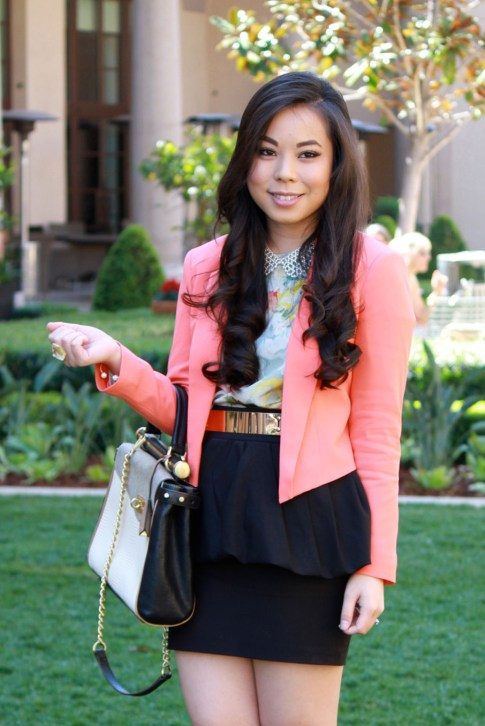 Bebe Girls Who Lunch - An Dyer wearing Bebe Debbie Crepe Crop Blazer, Ainsley Galloping Horse Blouse, BCBG Maxazria Andrea Satchel, Pear Collar Necklace, ASOS Spike &amp; Plate Belt, Zara Peplum Skirt