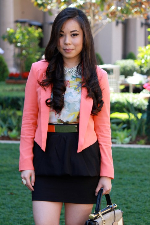 Bebe Girls Who Lunch - An Dyer wearing Bebe Debbie Crepe Crop Blazer, Ainsley Galloping Horse Blouse, BCBG Maxazria Andrea Satchel, TopShop Pearl Collar Necklace, ASOS Spike &amp; Plate Belt, Zara Peplum Skirt