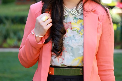 Bebe Girls Who Lunch - An Dyer wearing Bebe Debbie Crepe Crop Blazer, Ainsley Galloping Horse Blouse, Glint &amp; Gleam Bracelet ShopLately, Chic Peek Ring, Pear Collar Necklace, ASOS Spike &amp; Plate Belt