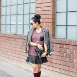 Herringbone Blazer + Studded Clutch &amp; Skirt + Sole Society Brandi Boots