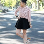 Pink Striped Blouse with DIY Studs + Jessica Simpson Dany in Oatmeal Vintage Floral + Ear Cuff Hair Chain