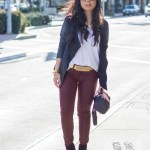 Michael Stars Leather Draped Cardigan + Bleulab Ruby Red Coated Skinny Jeans + Luxe Moda Lioness Necklace + Lulu's Studded Black Purse
