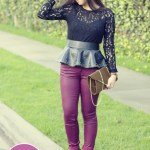 YMI Oxblood Coated Skinny Jeans + Sugarlips Lace Top + Zara Studded Peplum Belt