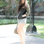 Zara Military Jacket + Celine Aviators + Metallic Shorts at the Los Angeles Central Library