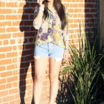 Zara Floral Print Shirt + BCBGeneration Lee Flatforms + Glint & Gleam Studded Bracelets