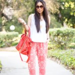 Chaser Brand Tribal Pants + Michael Stars Dress as a top + V-Couture by Kooba Red Bag